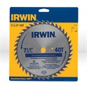 "Picture of 11140 Irwin Circular Saw Blade,Ripping non-metal cut material,7-1/4"" DIA,40 TPI"