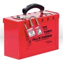 "Picture of 498A Master Lock,Portable group lock box,Accepts 12 padlocks or lockout hasps,6""x9-1/4""x3-3/4"",Red"