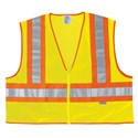 "Picture of WCCL2LX3 MCR Poly,Mesh Safety Vest,4 1/2"" Orange/Silver Stripe,LIME"