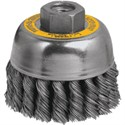"Picture of DW4915 DeWalt Wire wheel,3""xM10x1.25 Knotted Cup Brush/Carbon Steel .014"""