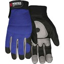 Picture of 905XXL MCR Fasguard Gloves,SYNTH Leather,Black Palm/Gray Patch Palm W/Blue Back,Velcro Wrist,2X-L