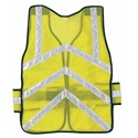 "Picture of CHEV2L MCR Chevron,Tear Away,Polyester Mesh Safety Vest,1 3/8"" White Stripe,19""x54"",LIME"