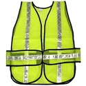"Picture of CHEV2LP MCR Chevron,Polyester Mesh Safety Vest,1 3/8"" White Stripe,19""x54"",LIME"