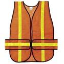 "Picture of CHEV2O MCR Chevron,Polyester Mesh Safety Vest,1 3/8"" White Stripe,19""x54"",Orange"