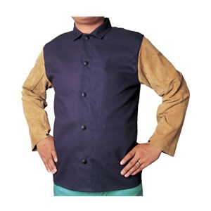 "Picture of 33-8060L Alliance COOL FR Jacket,9 oz Cotton FR,30"" Leather sleeves,L,Navy blue"