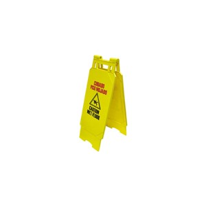 "Picture of WF100Y Alliance Caution Sign,Heavy Duty W/A-frame construction,Wet Floor,12""x25"""