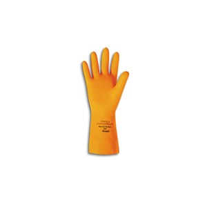"Picture of 208-9 Ansell Gloves,192085,Citrus Orange,Recessed Diamond Grip,29 Mil,13"",Size 9"