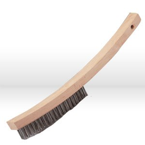 "Picture of 82340 Jaz USA Hand Scratch Brush,Curved handle 3 Rows,.016"",Stainless Steel"