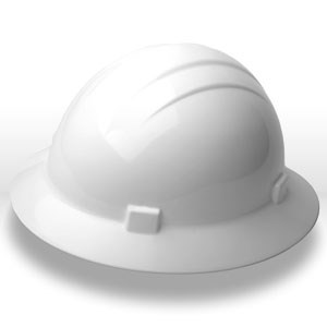 Picture of 19911 ERB Safety Helmet,Omega II Mega Ratchet Full Brim Safety Helmet,White