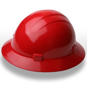Picture of 19224 ERB Safety Americana Ratchet Safety Helmets,Hard hat,Standard full brim,Polyethylene,Red