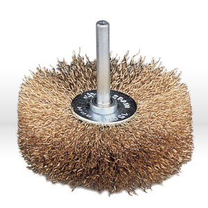 "Picture of 95600 Jaz USA Wire Wheel Bench Brush,3"" Stem-Mounted Crimped,.012"",Steel"