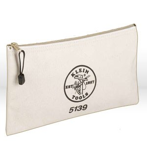 """Picture of 5139 Klein Tools Utility Bag,Zipper bag,Holds Pliers,Canvas,No. 10,Size 7""""x 12-1/2"""",Off-white"""