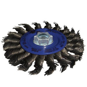 """Picture of 78082 Jaz USA Twist Knot Wire Wheel Brush,4-1/2"""",20 Knots,.020"""",Stainless Steel"""