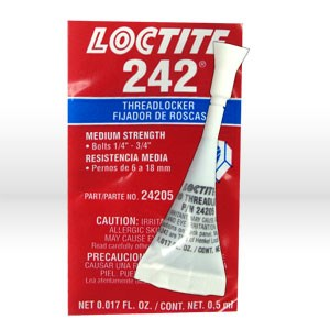 Picture of 24205 Loctite Thread Sealant,# 242 thread locker,Medium strength,0.5 ml capsule .017 oz