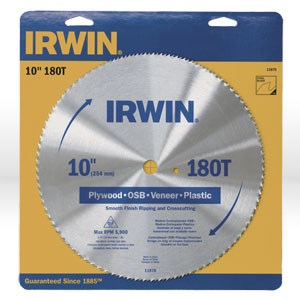 "Picture of 11870 Irwin Circular Saw Blade,Non-metal cut material,10"" DIA,Bore5/8"",180 TPI"