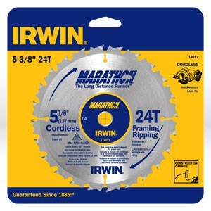 "Picture of 14017 Irwin Circular Saw Blade,5-3/8""x24T Framing/Ripping,10mm"