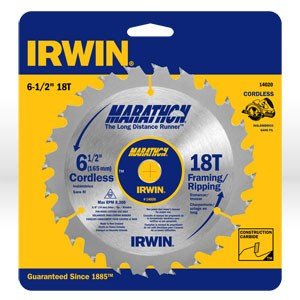 "Picture of 14020 Irwin Circular Saw Blade,6-1/2""x18T Framing/Ripping,5/8"""