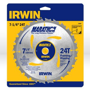 """Picture of 14030 Irwin Circular Saw Blade,7-1/4""""x24T Framing/Ripping,Universal"""