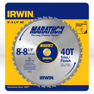 "Picture of 14053 Irwin Table Saw Blade,8""-8-1/4""x40T Trimming/Finishing,Universal"