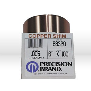 "Picture of 68320 Precision Shim Stock,.005""x6""x100"",Copper"