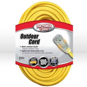 Picture of 02589 Coleman Lighted End Extension Cord,12/3 SJTW,L 100',Amps 15,Voltage 125V,Yellow
