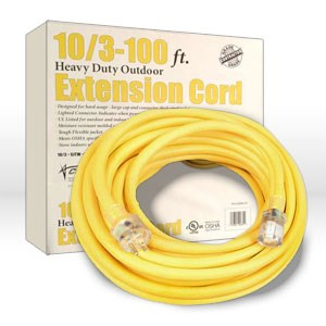 Picture of 02689 Coleman Extension Cord,10/3 SJTW,L 100',Amps 15,Voltage 125 VAC,Yellow