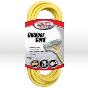 Picture of 04187 Coleman Tri-Source Multi-Outlet Extension Cord,12/3 SJTW,L 25',Yellow