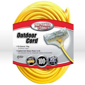 Picture of 04189 Coleman Tri-Source Multi-Outlet Extension Cord,12/3 SJTW,L 100',Yellow