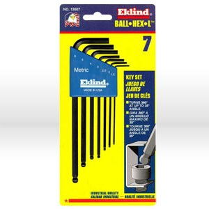 Picture of 13607 Eklind Hex-L Ball End Hex Key Set,1.5mm-6mm,Long,7 pc