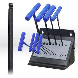"""Picture of 64811 Eklind Power-T T Shaped Hex Key Set,mm/Ball W/Stand 9"""",10 pc"""