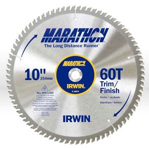 "Picture of 14074 Irwin Marathon Circular Saw Blade,10"",Teeth/60T,Trim and Finish,5/8"""