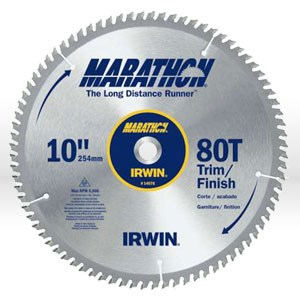 "Picture of 14076 Irwin Marathon Circular Saw Blade,10"",Teeth/80T,Trim and Finish,5/8"""
