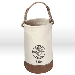 "Picture of 5104S Klein Tools Tool Bucket,Leather bottom canvas bucket,No. 1,Size 12""Dia 8""x 8"",17"",Rope"
