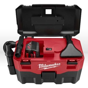 """Picture of 0780-20 Milwaukee Shop Vac,11-1/2"""" x19"""" x8-1/2"""",2 gal,Wet/dry vac,32"""""""