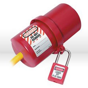 Picture of 488 Master Lock Lockout Plug,L electrical plug lockout,Rotating,Thermoplastic,Red