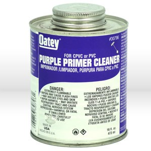 Picture of 30796 Oatey Lo-Voc PVC Pipe Primer,16 oz,Purple tinted PVC primer/cleaner