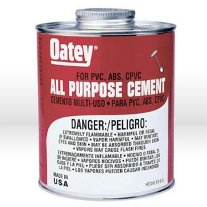"Picture of 30818 Oatey Pipe Cement,4 oz,PVC or CPVC up to 6"" DIA,40F to 110F"