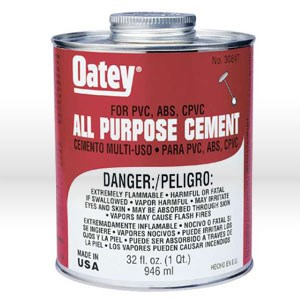 """Picture of 30847 Oatey Pipe Cement,32 oz,PVC or CPVC up to 6"""" DIA,40F to 110F"""
