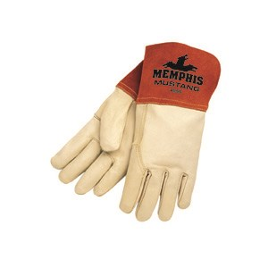 """Picture of 4950S MCR """"Mustang"""" MIG/TIG Welder's Gloves,Sewn KEVLAR,Wing Thumb and 4"""" Split Leather,Sm"""