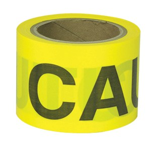 "Picture of B332Y16 Presco Barricade Tape,Gauge 2 Mil,Caution,Yellow,3""x300'"