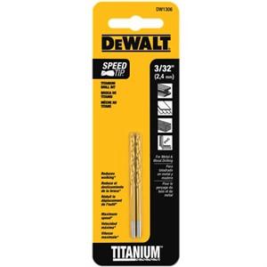 "Picture of DW1306 DeWalt Metal Drilling,3/32"" Titanium Drill Bit Split Point"