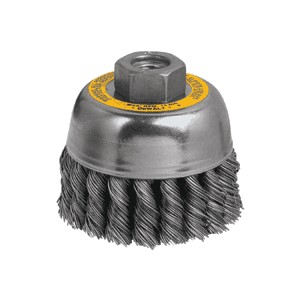 """Picture of DW4915 DeWalt Wire wheel,3""""xM10x1.25 Knotted Cup Brush/Carbon Steel .014"""""""
