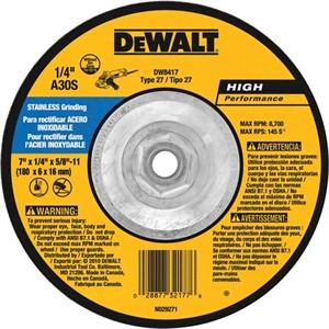 "Picture of DW8417 DeWalt Bonded Abrasive,7""x1/4""x5/8""-11 Stainless Steel Grinding Wheel"