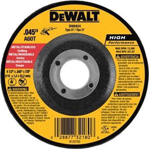 """Picture of DW8424 DeWalt Cut Off Wheel,4-1/2""""x 045""""x7/8"""" Thin Cut Whl DCW"""