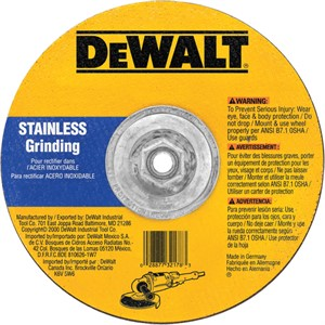 "Picture of DW8458H DeWalt Bonded Abrasive,9""x1/8""x5/8""-11 T27 stainless wheel"