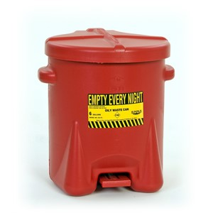 Picture of 933-FL Eagle OILY WASTE CANS,Polyethylene-Red w/Foot Lever,6 Gal