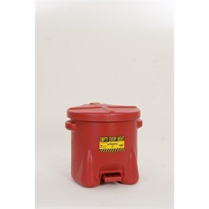 Picture of 935-FL Eagle Poly Waste Can,Safety oily waste cans,Polyethylene W/foot lever,Red,10 gal