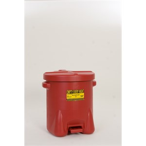 Picture of 937-FL Eagle OILY WASTE CANS,Polyethylene-Red w/Foot Lever,14 Gal
