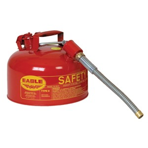 "Picture of U2-26-SX5-RED Eagle TYPE II Safety CANS-GALVANIZED STEEL,Red-w/5/8"" O.D. Flex Spout,2 Gal"