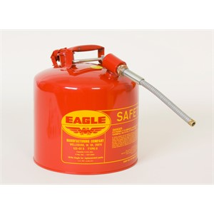 "Picture of U2-51-SX5-RED Eagle TYPE II Safety CANS-GALVANIZED STEEL,Red-w/5/8"" O.D. Flex Spout,5 Gal"